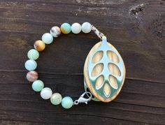 Amazonite beaded Bracelet for the Silver Bellabeat by LadyLeafCo