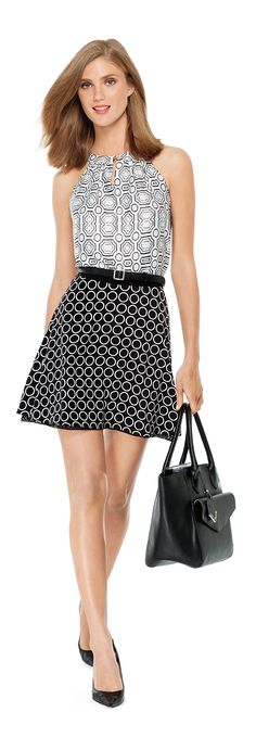 MODERN ARCHITECTURE- Create this look with our Geo Print Halter Top, Circle Print Skater Skirt, Basic Skinny Belt and Large Trapezoid Tote from THELIMITED.com #TheLimited #UrbanStyle #Chic #GeoPrint #Print #BlackandWhite #MonoChrome #WeartoWork #W2W #LTDStyle