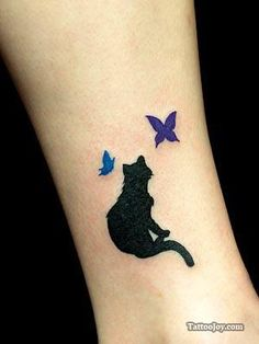 Cat & Butterflies.  Ankle?