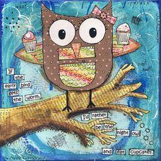 Cute Owl and Cupcake Art Print 8x8 from Mixed Media by JoyHanna
