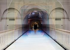 "London designers Laetitia de Allegri and Matteo Fogale installed a tinted tunnel at the V&A Museum for the London Design Festival. Entitled ""Mise-en-abyme"", the installation. London Design Week, London Design Festival, V & A Museum, London Museums, London Bridge, Light Installation, Art Installations, Artistic Installation, Zaha Hadid"