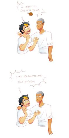 Asanoya---- This is not how Tanaka was expecting the conversation to go. Haikyuu Manga, Haikyuu Funny, Haikyuu Fanart, Haikyuu Ships, Nishinoya Yuu, Daisuga, Kagehina, Haikyuu Volleyball, Volleyball Anime