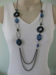 Chunky Long Blue Beaded Chain Necklace