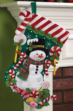 Candy Snowman Stocking kit by Bucilla