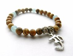 Om Namaste Bracelet Picture Jasper beads Yoga by PureLapis on Etsy