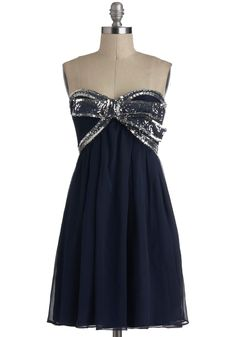 Elegance With a Sparkle Dress in Midnight - Short, Blue, Silver, Beads, Bows, Sequins, Party, Empire, Strapless, Sweetheart, Holiday Party  #modcloth #partydress