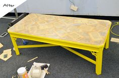 AFTER: Book Page Coffee Table for the Nate Berkus Show - I designed this with a bright yellow paint and DIYed the book pages onto the top of the coffee table using a decoupage technique