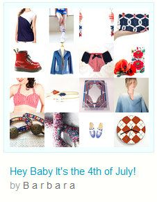 """☛http://www.etsy.com/shop/paroliro """"Hey Baby It's the 4th of July!"""" patriotic red, white and blue summer handmade and vintage offerings. [*Click on image to travel to all 16 items I chose]☚"""