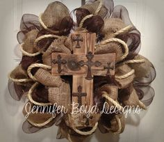 Rustic Western Cross and Cowboy Everyday Deco Mesh Wreath in Brown and Burlap. $85.00, via Etsy.