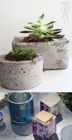 macetas de concreto hechas a mano, manualidades