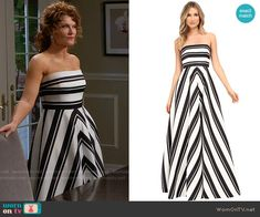 Evelyn's black and white striped strapless gown on Devious Maids.  Outfit Details: https://wornontv.net/59086/ #DeviousMaids
