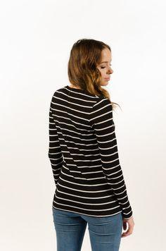 Basic Stripe Tee L/S - Black/White - BAAM Labs - 3