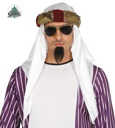 This desert prince turban will complete any Arab look.The headpiece comes in traditional white with gold detailing, it comes in one size and will fit most adults Headpiece, Deserts, Prince, Mens Sunglasses, Clothes, Style, Accessories, Shoes, Products