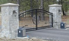 family owned and operated, iron gates, operators and fences, in Spokane, WA. Most iron gate styles are available. Wrought Iron Driveway Gates, Front Gates, Entrance Gates, Entrance Ideas, Brick Columns, Stone Pillars, Driveway Entrance Landscaping, Cobblestone Driveway, Fence Gate Design