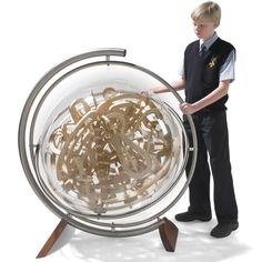 """This is the three-dimensional spherical labyrinth that challenges the limits of your manual dexterity and spatial understanding as you maneuver a 5/8"" wooden marble through its entire course. The Superplexus is a complex network of chicanes, multi-planar hairpin turns, spirals, and staircases--even a vortex"""