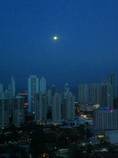 The moon over Panama City, Republic of Panama.