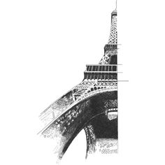 Eiffel Tower drawing ❤ liked on Polyvore