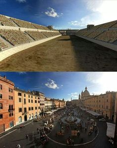 This Is How These 11 Famous Ancient Roman Structures Looked In The Past Vs. Now - Stadium Of Domitian (Piazza Navona) - Architecture Romaine, Rome Architecture, Ancient Ruins, Ancient Rome, Ancient History, Mayan Ruins, Ancient Greek, Piazza Navona, Course De Chars