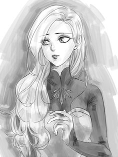 Beautiful B&W sketch of the character Elsa - from the Disney movie 'Frozen' - with her hair down and loose. Disney Pixar, Arte Disney, Disney Fan Art, Disney Animation, Disney And Dreamworks, Disney Magic, Disney Frozen, Disney Characters, Animation Movies