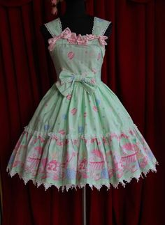 infanta dolly house jsk with macaron and tea set print in mint/pastel green.