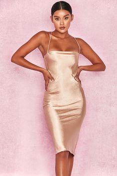 76c4ec63b8 HOUSE OF CB  Julieta  Champagne Satin Slip Dress XS 6   8 SJ 1991