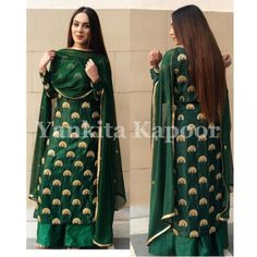 How gorgeous she looks in our bottle green silk kurta set 😍 Silk Kurti Designs, Kurta Designs Women, Kurti Designs Party Wear, Sharara Designs, Blouse Designs, Dress Indian Style, Indian Wear, Indian Outfits, Salwar Suits Party Wear