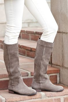 Slouchy taupe suede tall boots