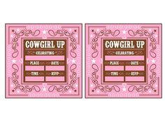 free cowgirl birthday printable invitation