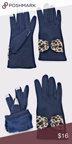 """Touch Screen Fleece Lined Bow Gloves Cold weather is no match for you when you wear this fleece lined gloves.  Use your phone without having to remove gloves and keep warm throughout.   • Color : Navy • Theme : Bow, Leopard  • Size : 4"""" W, 9"""" L • Material : Cotton Accessories Gloves & Mittens"""
