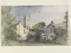 Houses in Dedham, with the church tower, John Constable, about 1832