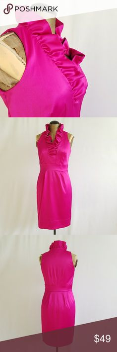 Just Taylor pink fuschia ruffle neck dress sz 2 Just Taylor dress  Sz 2 Off pink color Shiny  Ruffle neck detail Business style    **Please note that I try my hardest to suggest the true coloring of each item I post. Please check photos before purchasing since they are part of my description  3MARD12 just taylor Dresses Midi