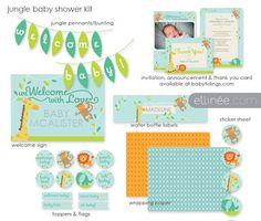 Imprimibles para Baby Shower de la selva.