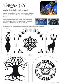 Easy tutorial for this magical triptych desk display. Autel Wiccan, Wicca Witchcraft, Wiccan Magic, Wiccan Decor, Wiccan Crafts, Yule, Symbole Viking, Eclectic Witch, Deco Design