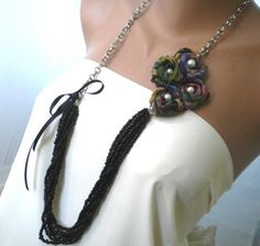 diy ribbon and beading necklace