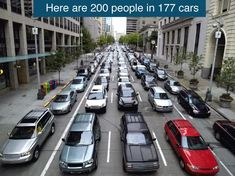GIF comparing the space needed for 200 people in cars, on bikes, in a bus and on a train Mont Blanc Express, Agriculture Raisonnée, Traffic Congestion, Destinations, France 3, Chamonix, Seattle Times, Climate Action, Light Rail