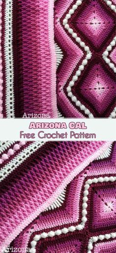 Arizona Cal Blanket Free Crochet Pattern and Video Tutorial]. The patter is greatly enhanced by the gradient colors that blend into one another in a very specific way, and this is further framed by the shadow and contrast colors that help define the pattern. Pattern designed by Pippin Poppycock. See more... #freecrochetpatterns #crochetblanket #arizona #arizonacal #arizonablanket #lovecrochet #arizonacalblanket