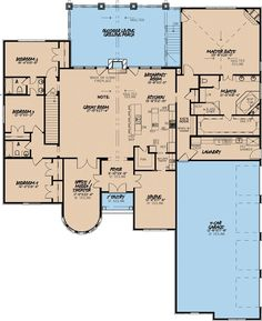 Love...European Style House Plan - 4 Beds 3.50 Baths 3713 Sq/Ft Plan #923-2 Floor Plan - Main Floor Plan - Houseplans.com