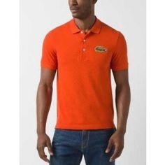 Tall Short Sleeve Oversized Crocodile Pique Polo, Orange