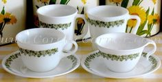 Spring Blossom Green Mugs, Cups & Saucers.  THIS was the Corelle pattern of my youth.