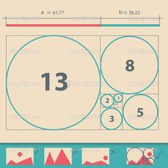 illustration vectorielle de nombre d'or, or proportion — Illustration #28829901