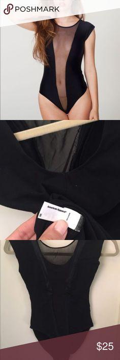 Mesh deep V bodysuit New no tags. American Apparel Tops