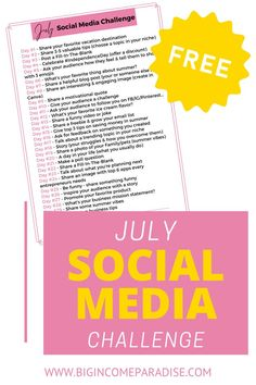 Maybe you're struggling with Social Media content and you need some ideas. Well, you're in luck! Here's the July Social Media challenge for all bloggers, entrepreneurs and small business owners. The July Social Media challenge will give you post ideas for every day and some extra Social Media tips that will help you boost engagement, followers, and sales. || July social media challenge || social media challenge July 2020 || #socialmediachallenge Social Media Challenges, Social Media Content, Social Media Tips, Social Media Marketing Business, Business Entrepreneur, Business Tips, Create A Calendar, Followers, Engagement