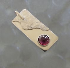 Garnet Pendant Sterling Silver Rectangle by DixSterling on Etsy - Love that wave of reticulated silver