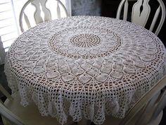 4 Free Pineapple Crochet Tablecloth Patterns You Should Save Crochet Tablecloth Pattern, Crochet Doily Diagram, Crochet Bedspread, Crochet Doily Patterns, Thread Crochet, Crochet Motif, Crochet Designs, Crochet Doilies, Crochet Kitchen