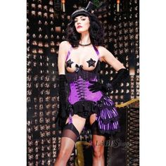 Purple Underbust Satin Burlesque Corset
