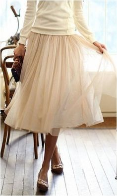 tulle skirt, ivory sweater, flats. I love these colors together. I call them ballerina colors.