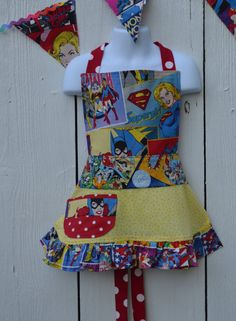 Little Girl Super Hero Apron Wonder Woman Super Girl by ApronStyle