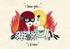 "Emily and Naomi, ""Skins""  Illustration by Marta Baroni"