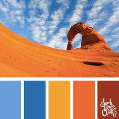 Vibrant desert color palette - The sand is so bright! Blue, yellow, orange and red color scheme. | Click for more color combinations inspired by beautiful landscapes and other coloring inspiration at http://sarahrenaeclark.com | Colour palettes, colour sc