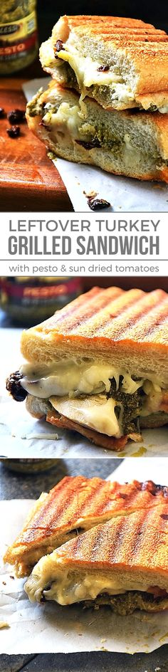 Repurpose the leftover roasted turkey from your Thanksgiving feast by putting an Italian spin on it. This Grilled Turkey Sandwich with pesto and sun dried tomatoes is a unique combination of flavors that work together to make one tasty grilled cheese sandwich. #Thanksgiving #Leftovers #EasyRecipe #TurkeySandwich